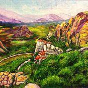 Картины и панно handmade. Livemaster - original item Oil landscape with mountains: Greece. Views of the Meteora. Handmade.