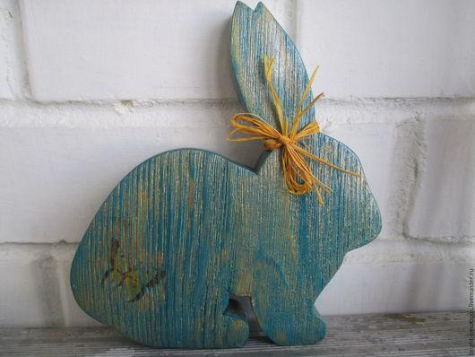 Подарки на Пасху ручной работы. Ярмарка Мастеров - ручная работа. Купить Зайчик игрушка бирюзовый из дерева. Handmade. Бирюзовый