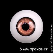 Материалы для творчества ручной работы. Ярмарка Мастеров - ручная работа 6 мм, ореховые Глаза акриловые для кукол. Handmade.