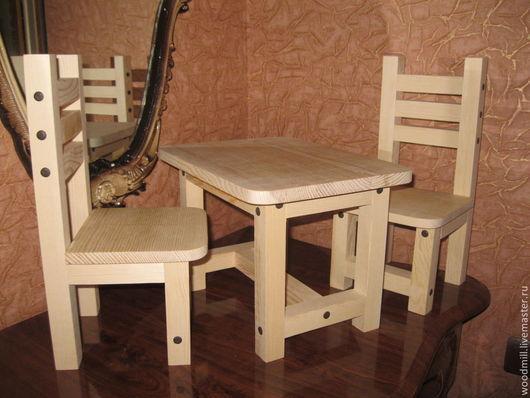 Кукольный дом ручной работы. Ярмарка Мастеров - ручная работа. Купить Набор мебели для кукол № 2 .(стол+2 стула).. Handmade.