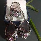 Украшения handmade. Livemaster - original item Jewelry sets:ring and earrings with rhodolite. Handmade.