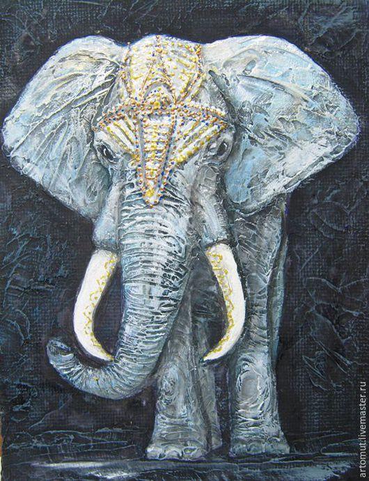 """Животные ручной работы. Ярмарка Мастеров - ручная работа. Купить """" Белый слон"""" рельефное панно. Handmade. Серебряный, этно"""