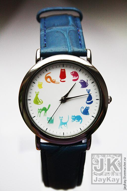"""Часы ручной работы. Ярмарка Мастеров - ручная работа. Купить Часы наручные JK """"12 котиков. Радуга 2"""". Handmade."""