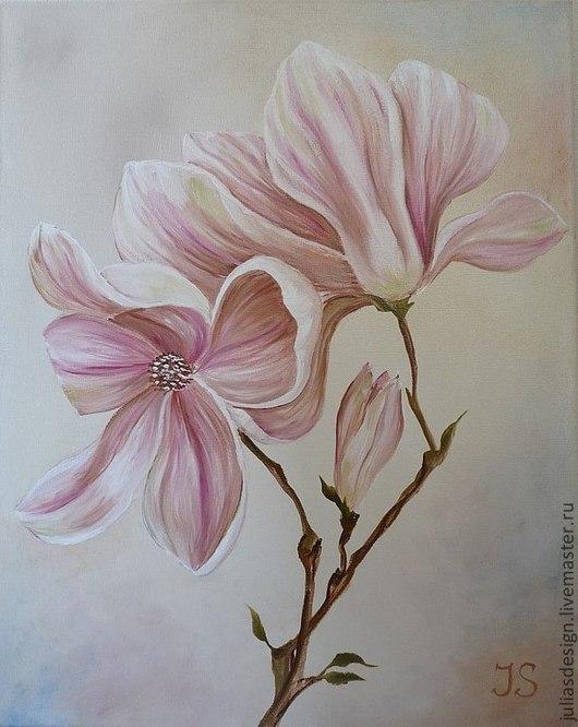"""Картины цветов ручной работы. Ярмарка Мастеров - ручная работа. Купить Картина """"Нежность Магнолии"""". Handmade. Розовый, магнолия, нежность"""