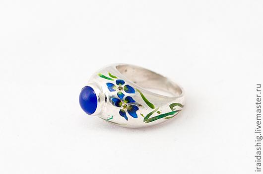 """Кольца ручной работы. Ярмарка Мастеров - ручная работа. Купить кольцо """"Ирисы"""". Handmade. Тёмно-синий, дизайнерские украшения"""