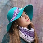 """Аксессуары ручной работы. Ярмарка Мастеров - ручная работа Широкополая шляпа """"Violettes de Paris"""" (Парижские фиалки). Handmade."""