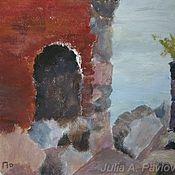 """Картины и панно ручной работы. Ярмарка Мастеров - ручная работа Картина акрилом """"Форт"""" картина море крепость. Handmade."""