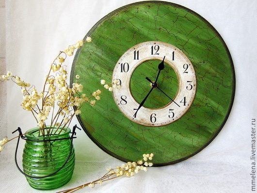 """Часы для дома ручной работы. Ярмарка Мастеров - ручная работа. Купить Часы """"Изумрудное настроение"""". Handmade. Тёмно-зелёный"""