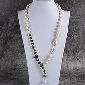 Украшения handmade. Livemaster - original item Beautiful necklace natural pearls and cubic zirconia. Handmade.