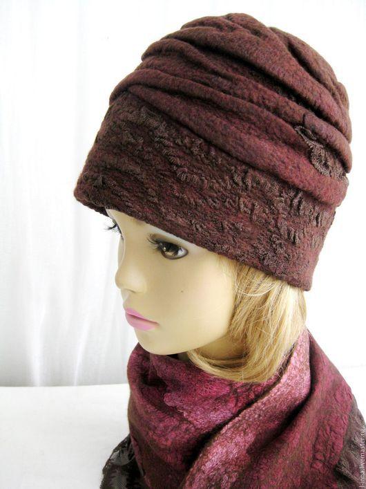 Оригинальная легкая теплая , полностью натуральная - одним словом,  замечательная авторская шапка. Шерстяная шапка войлок ручной работы зимняя бордовая коричневая женская шапка