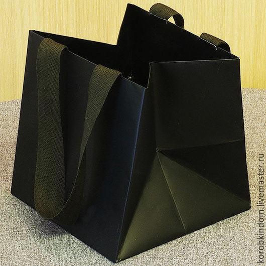 Упаковка ручной работы. Ярмарка Мастеров - ручная работа. Купить Пакет 15х15х15 черный с ручками из лент. Handmade. Пакет