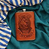 """Сувениры и подарки handmade. Livemaster - original item Leather flask """"SEA WOLF"""". Handmade."""