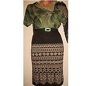 Одежда handmade. Livemaster - original item Skirt jacquard knitted Norwegian (brown). Handmade.
