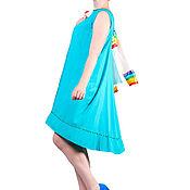 Одежда ручной работы. Ярмарка Мастеров - ручная работа Платье женское бирюза с зелеными каплями. Handmade.