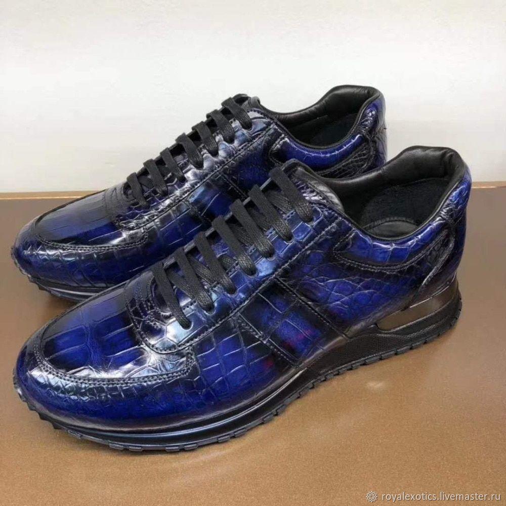 Sneakers made of crocodile skin, in dark blue, unisex model, Sneakers, Tosno,  Фото №1