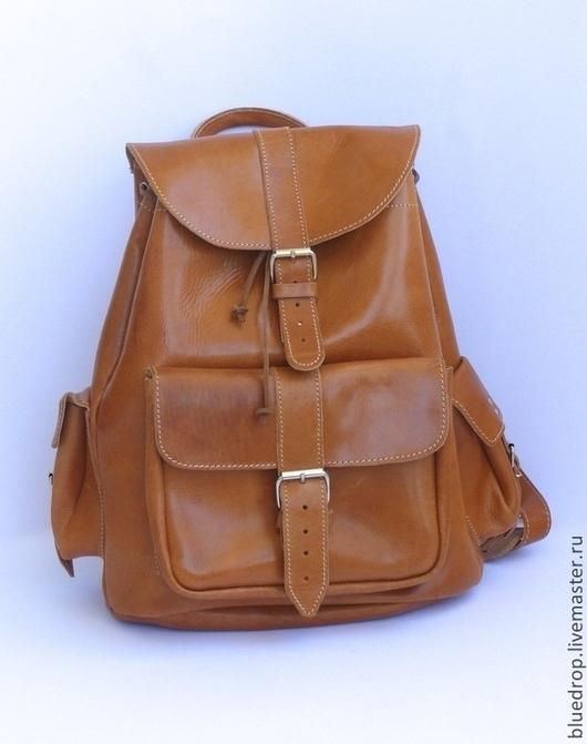 Рюкзаки ручной работы. Ярмарка Мастеров - ручная работа. Купить Кожаный рюкзак с тремя карманами XL - разные цвета кожи. Handmade.