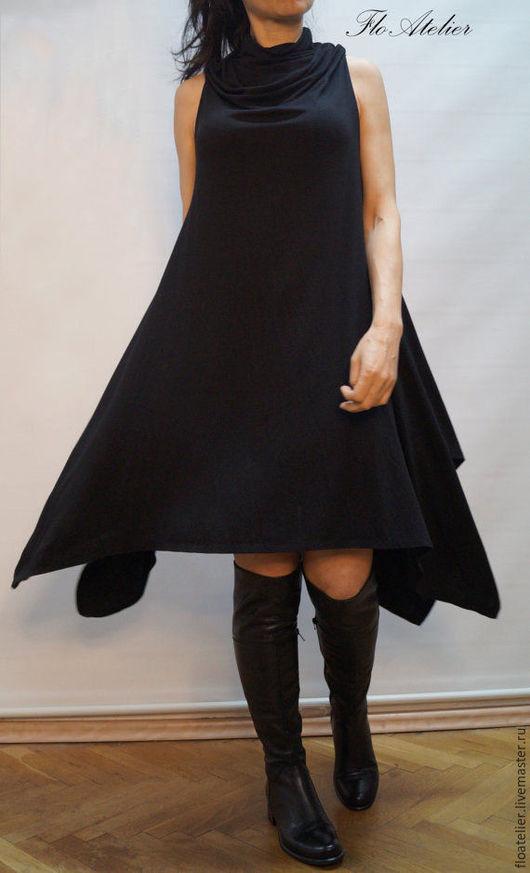 Топы ручной работы. Ярмарка Мастеров - ручная работа. Купить Ассиметричное черное платье/Экстравагантный Топ/F1109. Handmade. Черный, платье повседневное