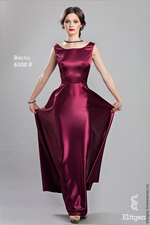 Платья ручной работы. Ярмарка Мастеров - ручная работа. Купить Вечернее платье в пол. Handmade. Бордовый, длинное платье
