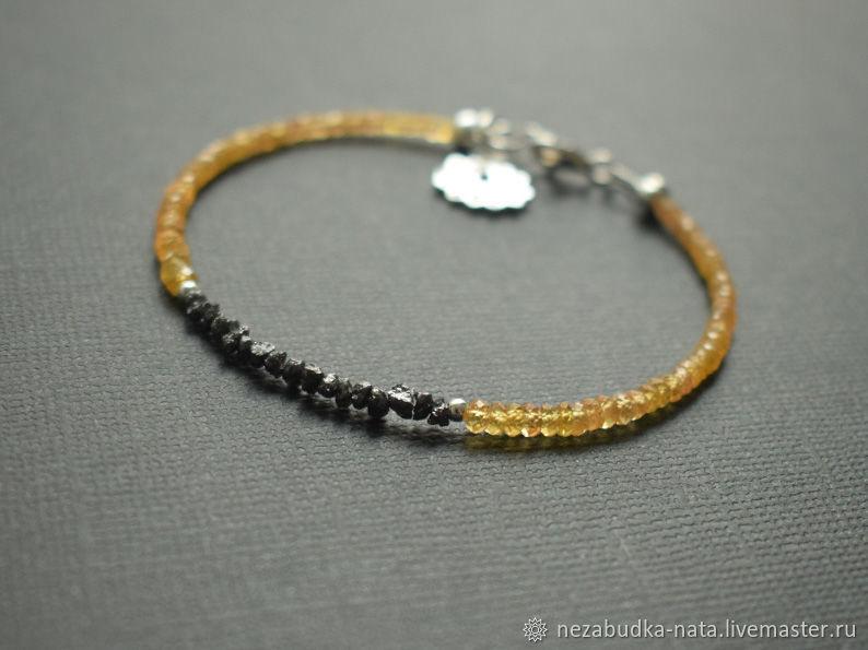 Браслет из черного алмаза и желтого сапфира, Браслет из бусин, Москва,  Фото №1