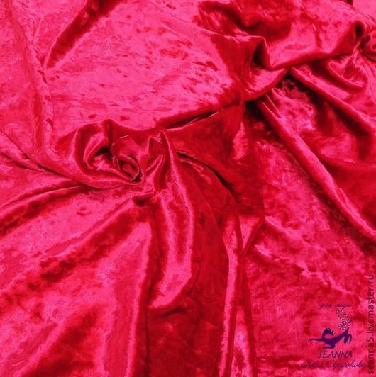 """Шитье ручной работы. Ярмарка Мастеров - ручная работа. Купить Бархат стрейч со скидкой """"Роскошь красного"""" плюшевый в винтажном стиле. Handmade."""