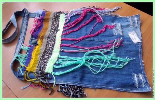 Сумки и аксессуары ручной работы. Ярмарка Мастеров - ручная работа. Купить Ткано-джинсовая сумка-торба в стиле бохо. Handmade.