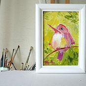 """Картины и панно ручной работы. Ярмарка Мастеров - ручная работа Картина """"Птичка на ветке"""". Handmade."""