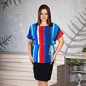 Одежда handmade. Livemaster - original item Bright viscose blouse with a drawstring. Handmade.