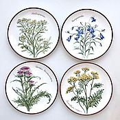Посуда handmade. Livemaster - original item The painted porcelain.The collection of plates on the wall wildflowers. Handmade.
