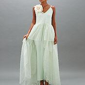 Одежда ручной работы. Ярмарка Мастеров - ручная работа Платье зеленое с розой Lipa 17. Handmade.