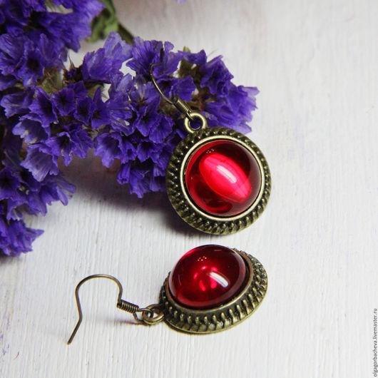 """Серьги ручной работы. Ярмарка Мастеров - ручная работа. Купить Серьги винтажные """"Спелая вишня"""" красные. Handmade. Ярко-красный"""