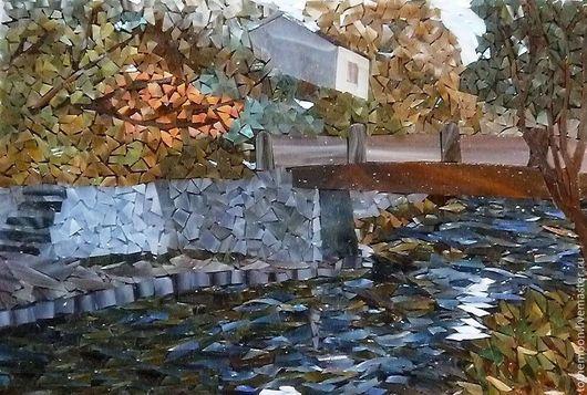 """Пейзаж ручной работы. Ярмарка Мастеров - ручная работа. Купить """"Япония. Миниатюра"""". Handmade. Мозаика, стекло, художественное стекло"""