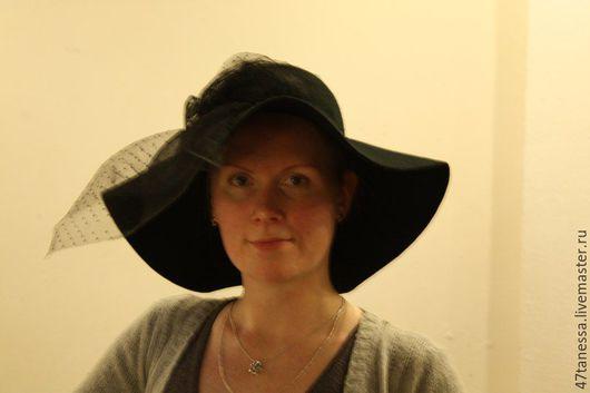 Шляпы ручной работы. Ярмарка Мастеров - ручная работа. Купить авторская  шляпа из фетра с бантом и звуали. Handmade. Черный