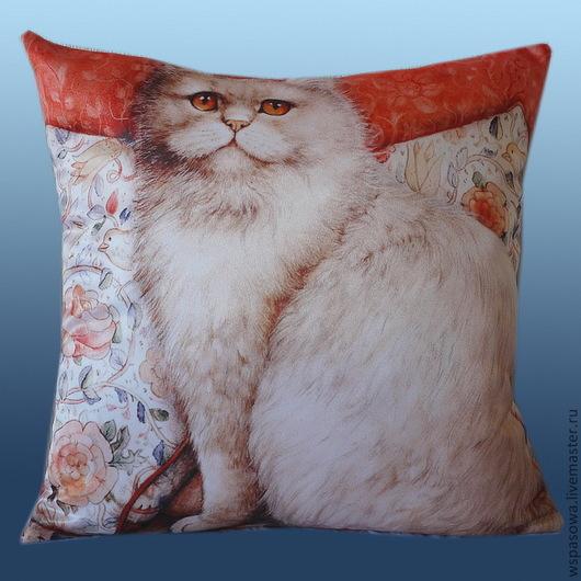 Текстиль, ковры ручной работы. Ярмарка Мастеров - ручная работа. Купить Подушка персик. Handmade. Перс, персидский кот, котик