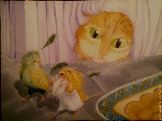 Животные ручной работы. Ярмарка Мастеров - ручная работа. Купить Кошки мышки. Handmade. Бледно-сиреневый, желтый, белый, рыбка