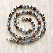"""Украшения handmade. Livemaster - original item Бусы """"Удача"""" из керамики, металла и рудракши. Handmade."""