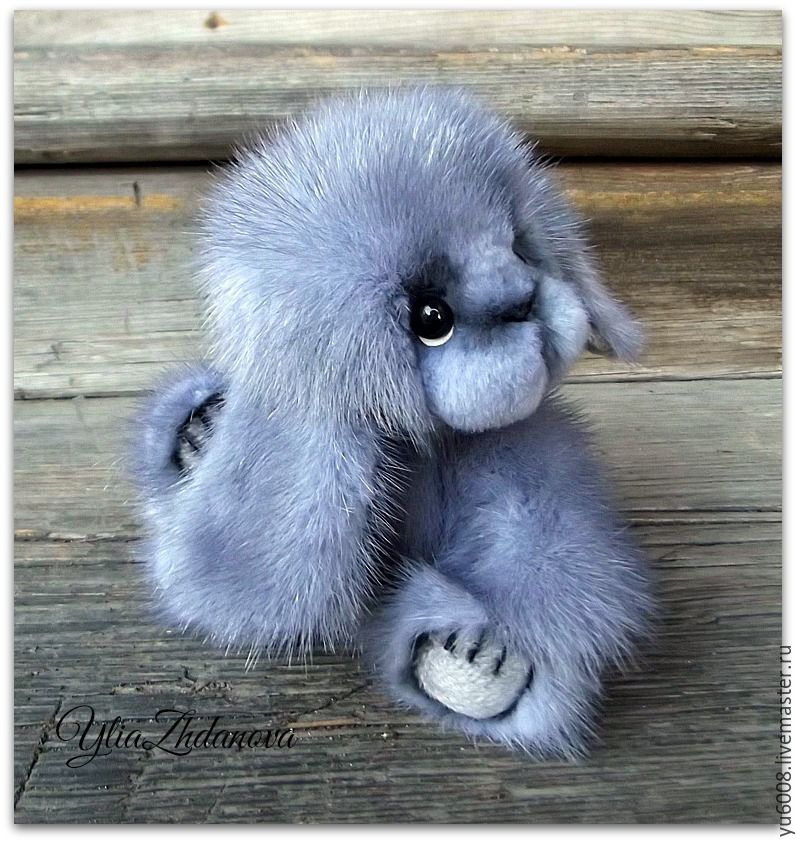 Купить Норковый Зайка тедди Арсений - голубой, зайка, игрушка HC72