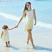 Работы для детей, handmade. Livemaster - original item Mismo vestido femililuk para la madre y la hija. Bebé vestido de algodón. Handmade.