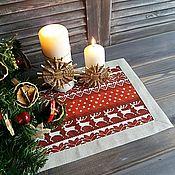 Для дома и интерьера handmade. Livemaster - original item Lunchmate linen Christmas Scandinavia red. Handmade.