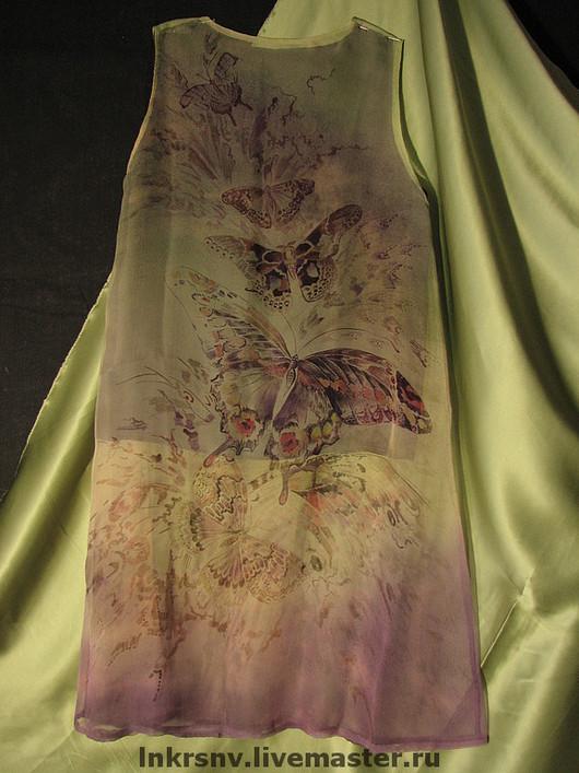 """Платья ручной работы. Ярмарка Мастеров - ручная работа. Купить Платье """"Бабочки"""". Handmade. Оливковый, шелковое платье, шифон"""