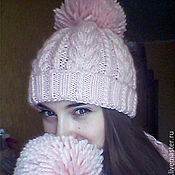 Аксессуары handmade. Livemaster - original item A set of knitted Delicate Rose, a knitted hat and a knitted scarf.. Handmade.