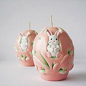 Подарки к праздникам ручной работы. Ярмарка Мастеров - ручная работа Пасхальный подарок - свечи яйцо - пасхальный кролик - свечи в наборе. Handmade.