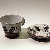 """Посуда ручной работы. Ярмарка Мастеров - ручная работа чашка с блюдцем """"Жуки"""". Handmade."""