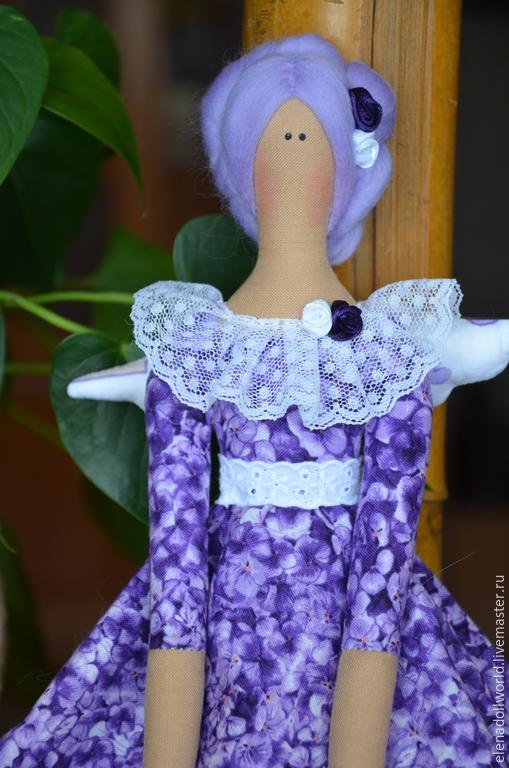 Куклы Тильды ручной работы. Ярмарка Мастеров - ручная работа. Купить Тильда,,Ангел Гортензия,,. Handmade. Сиреневый, текстильная кукла