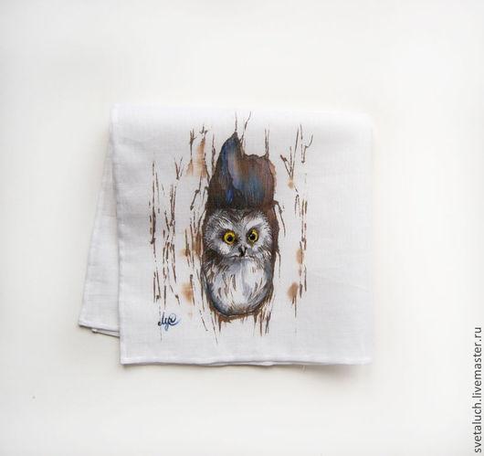 Носовые платочки ручной работы. Ярмарка Мастеров - ручная работа. Купить Безмолвный наблюдатель.... Handmade. Рисунок, наблюдатель, символ, лес
