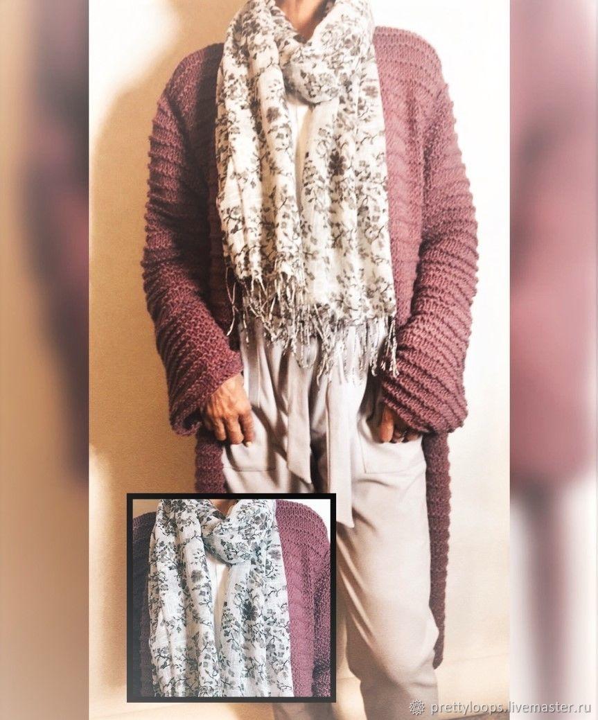 Classic style knitted Alpaca Plum cardigan, Cardigans, Ekaterinburg,  Фото №1