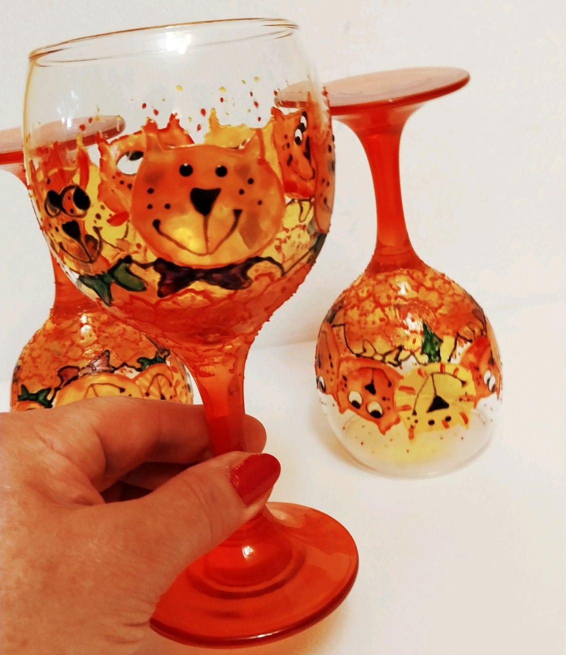 Набор бокалов Букет оранжевых котов, Бокалы, Москва,  Фото №1