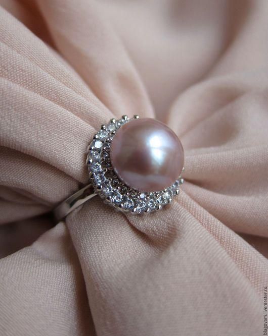 Кольца ручной работы. Ярмарка Мастеров - ручная работа. Купить Серебряное кольцо 925 , цирконы,натуральный лавандовый жемчуг ААА. Handmade.