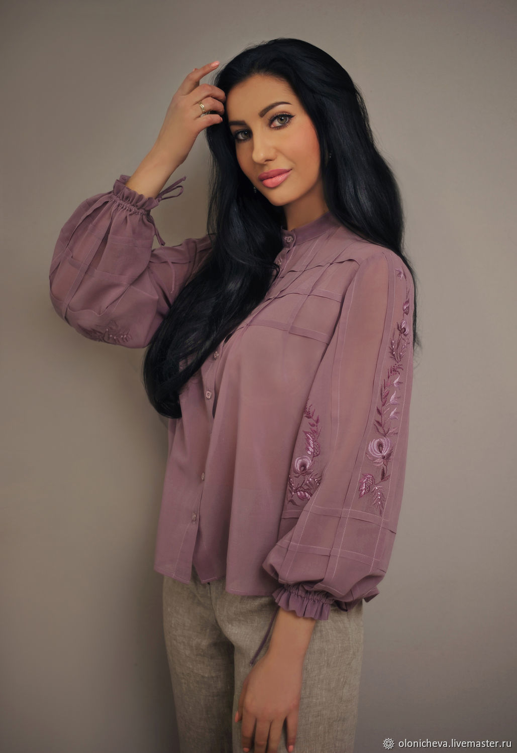 Cambric blouse with hand embroidery ' Lilac mist', Blouses, Vinnitsa,  Фото №1