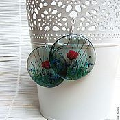 Украшения handmade. Livemaster - original item Round Transparent Bright Earrings poppy Field in Boho Jewelry. Handmade.