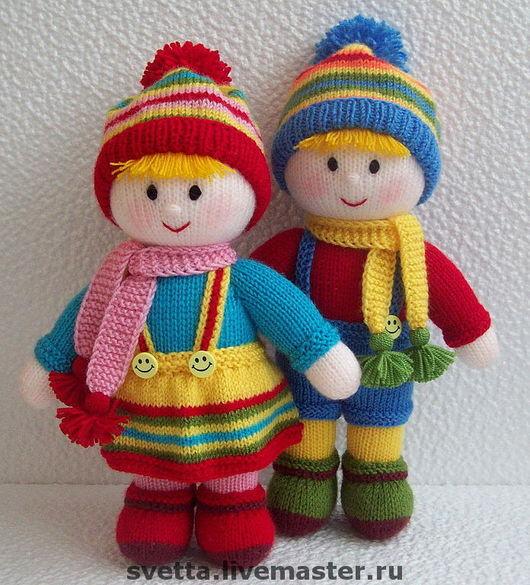"""Человечки ручной работы. Ярмарка Мастеров - ручная работа. Купить """"Двойняшки"""" вязаные куклы. Handmade. Вязаная кукла, двойняшки, холлофайбер"""